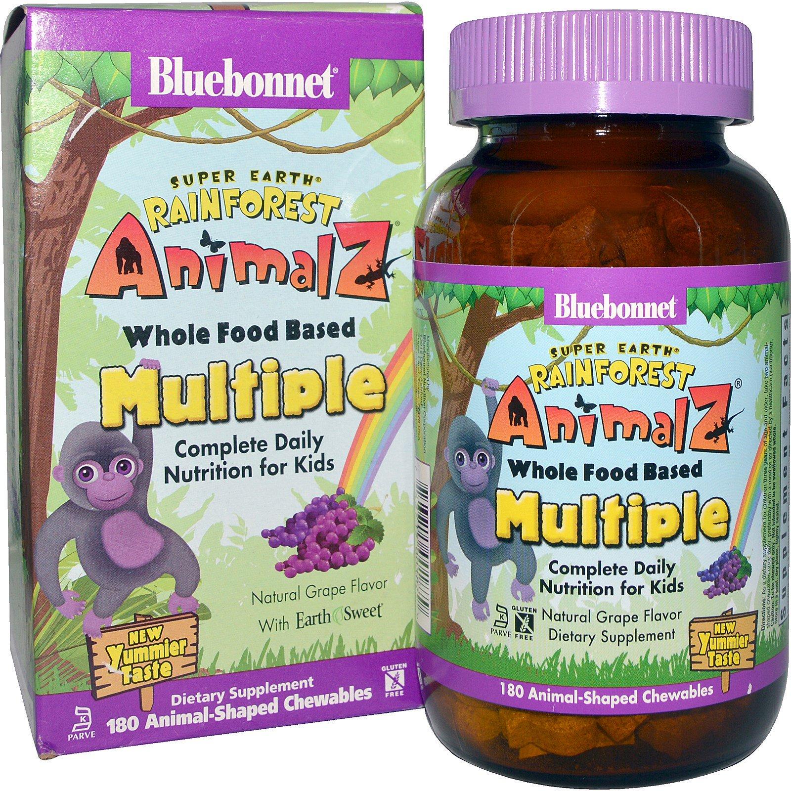 Bluebonnet Nutrition, Тропические животные, мультивитамин на основе цельных продуктов, с натуральным вкусом винограда, 180 жевательных конфет