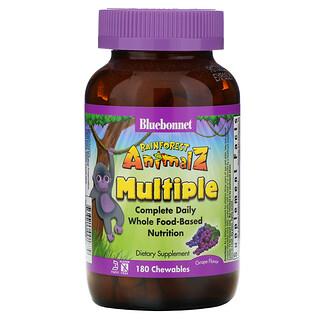 Bluebonnet Nutrition, Rainforest Animalz, Complete Daily Whole Food Based Nutrition, Grape Flavor, 180 Chewables