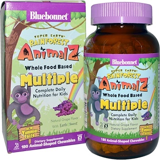 Bluebonnet Nutrition, Rainforest Animalz, Whole Food Based Multiple, Natural Grape Flavor, 180 Chewables
