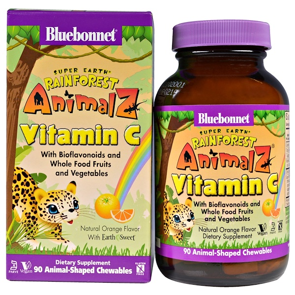 Bluebonnet Nutrition, Super Earth, Rainforest Animalz, Vitamin C, Natural Orange Flavor, 90 Animal-Shaped Chewables