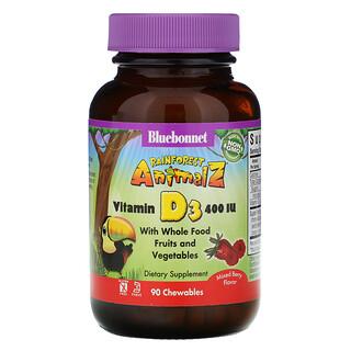 Bluebonnet Nutrition, Rainforest Animalz, Vitamin D3, Natural Mixed Berry Flavor, 400 IU, 90 Chewable Tablets