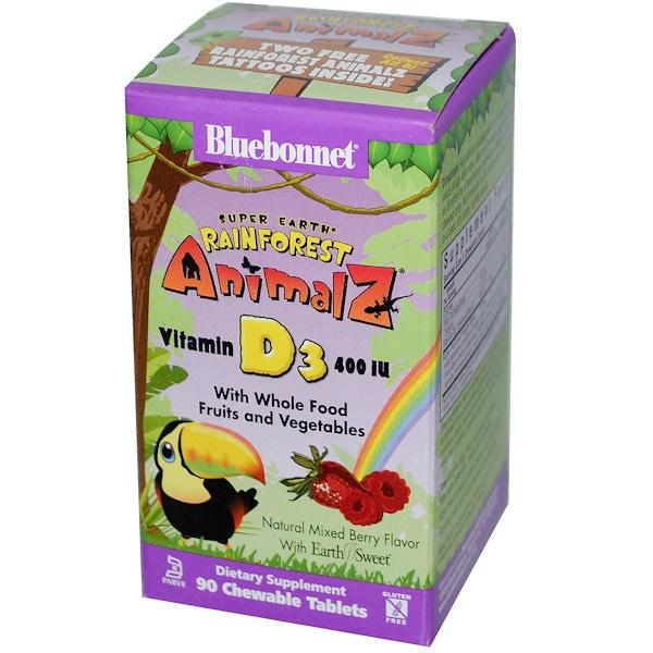 Bluebonnet Nutrition, 維生素D3,混合漿果口味,400國際單位,90咀嚼片