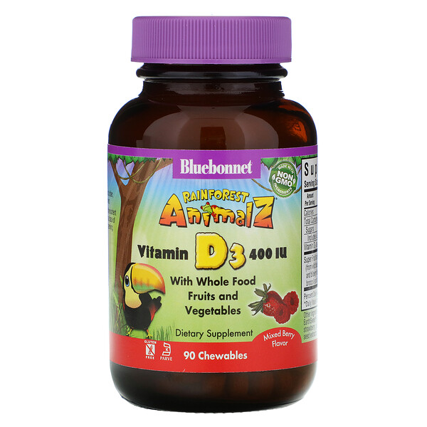 Bluebonnet Nutrition, Rainforest Animalz, Vitamin D3, Natural Mixed Berry Flavor, 400 IU, 90 Chewable Tablets