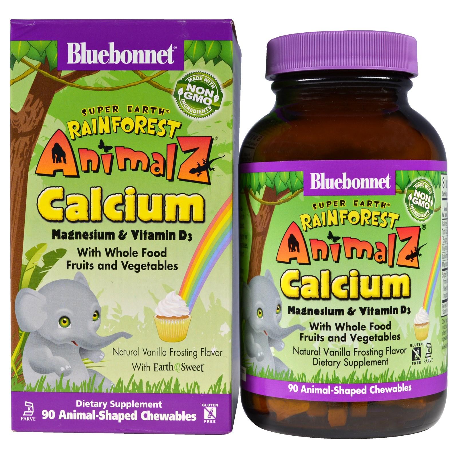 Bluebonnet Nutrition, Super Earth, Rainforest Animalz, кальций, магний и витамин D3, натуральный ароматизатор со вкусом ванильной глазури, 90 жевательных конфет в форме животных