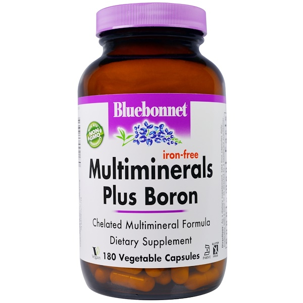 Bluebonnet Nutrition, Multiminerals Plus Boron, Iron-Free, 180 Veggie Caps