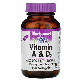 Bluebonnet Nutrition, Vitaminas A e D3, 100 Cápsulas Gelatinosas