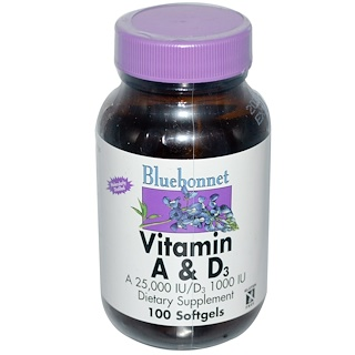 Bluebonnet Nutrition, Vitamin A & D3, 100 Softgels