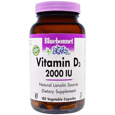 Купить Витамин D3, 2000 МЕ, 180 капсул в растительной оболочке