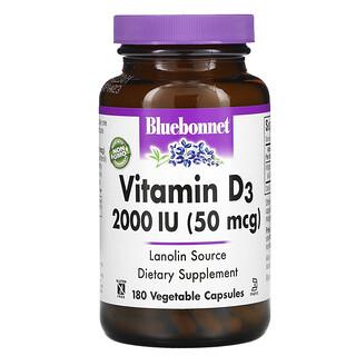 Bluebonnet Nutrition, Vitamin D3, 50 mcg (2,000 IU), 180 Vegetable Capsules