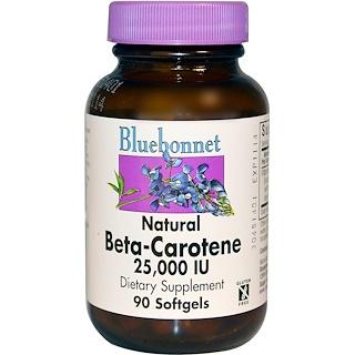 Bluebonnet Nutrition, 天然ベータカロチン、25,000 IU、90 ソフトジェル