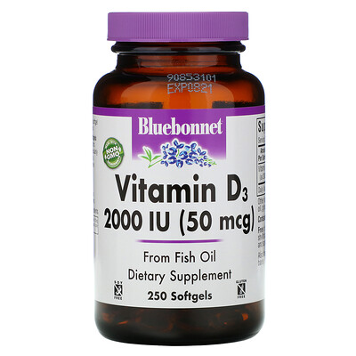 Купить Bluebonnet Nutrition Витамин D3, 2000 МЕ, 250 желатиновых капсул