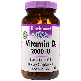 Bluebonnet Nutrition, ビタミンD3、2,000 IU、250ソフトジェル