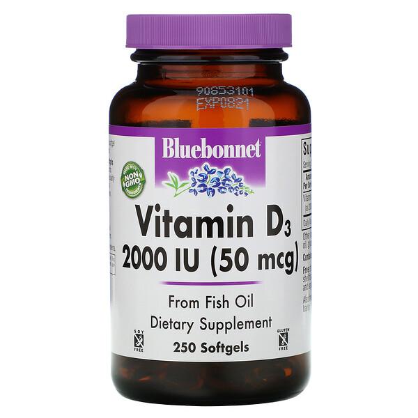 Bluebonnet Nutrition, Vitamin D3, 2,000 IU, 250 Softgels