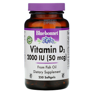 Блубоннэт Нутришен, Vitamin D3, 2,000 IU, 250 Softgels отзывы