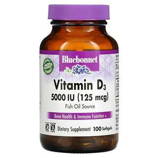 Bluebonnet Nutrition, витаминD3, 125мкг (5000МЕ), 100мягких таблеток