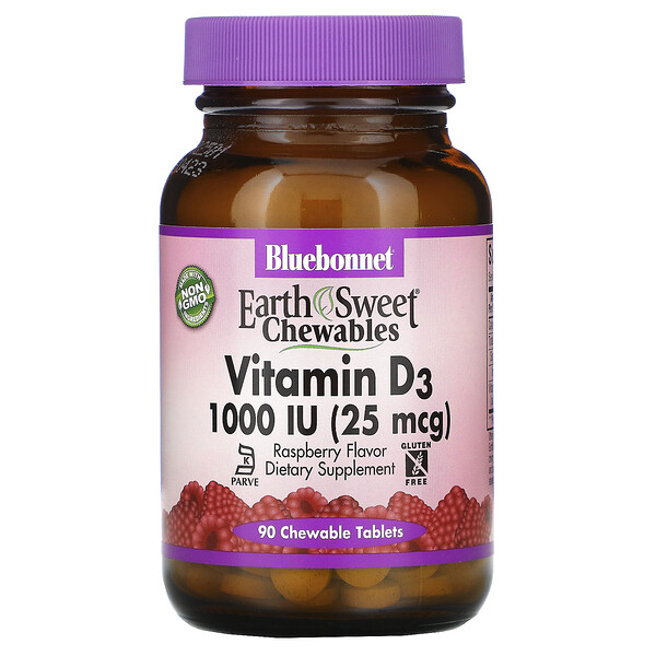 Bluebonnet Nutrition, Earth Sweet Chewables, Vitamin D3, Raspberry, 1,000 IU (25 mcg), 90 Chewable Tablets