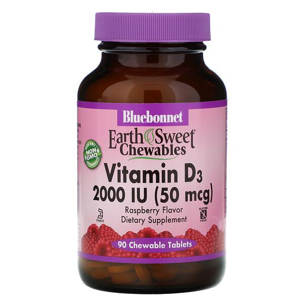 Bluebonnet Nutrition, EarthSweet Chewables, Vitamin D3, Natural Raspberry Flavor, 2,000 IU, 90 Chewable Tablets