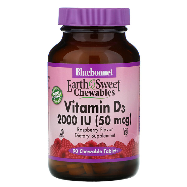 Bluebonnet Nutrition, EarthSweet Chewables, Vitamin D3, Natural Raspberry Flavor, 2,000 IU, 90 Chewable Tablets