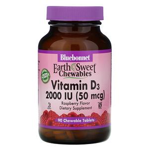 Блубоннэт Нутришен, EarthSweet Chewables, Vitamin D3, Natural Raspberry Flavor, 2,000 IU, 90 Chewable Tablets отзывы покупателей