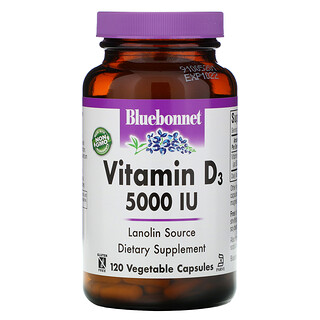 Bluebonnet Nutrition, Vitamin D3, 125 mcg (5,000 IU), 120 Vegetable Capsule