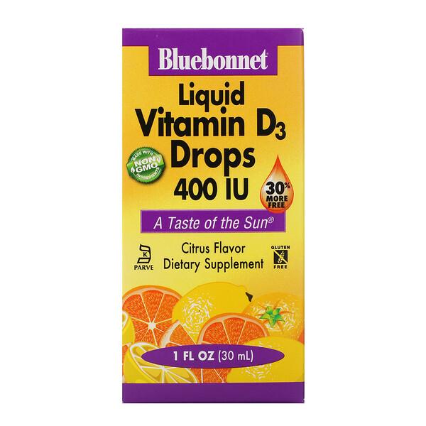 Жидкий витамин D3 в каплях, натуральный аромат цитрусовых, 400 МЕ, 1 жидк. унц. (30 мл)