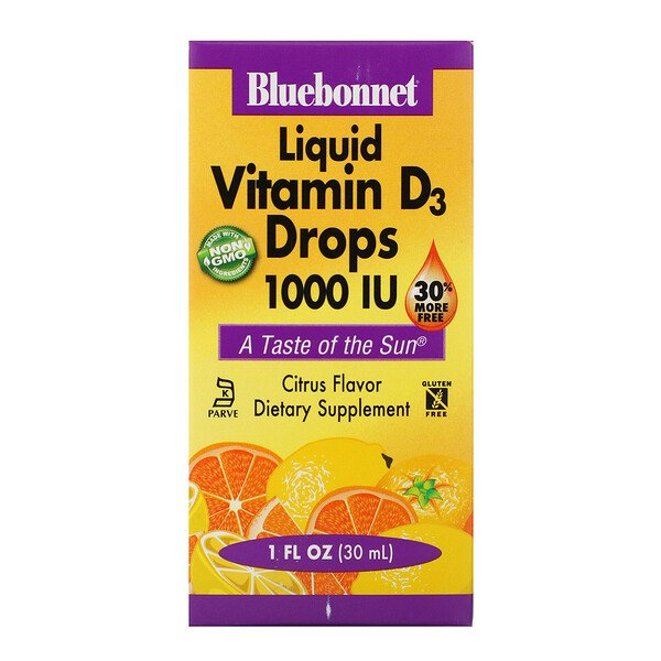 Bluebonnet Nutrition, Liquid Vitamin D3 Drops, Natural Citrus Flavor, 1,000 IU, 1 fl oz (30 ml)