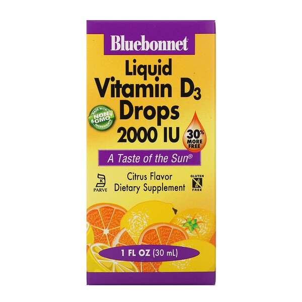 Bluebonnet Nutrition, Liquid Vitamin D3 Drops, Natural Citrus Flavor, 2,000 IU, 1 fl oz (30 ml)