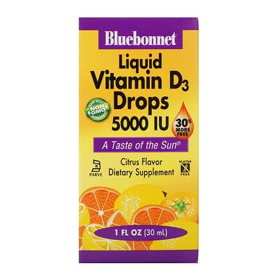 Купить Bluebonnet Nutrition капли витамина D3, с натуральным цитрусовым вкусом, 5000 МЕ, 30 мл (1 жидкая унция)