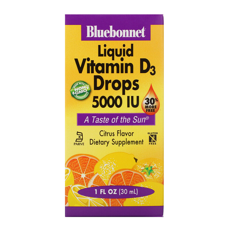 Bluebonnet Nutrition, 天然柑橘味維生素D3滴劑 ,5000 IU , 1液盎司 (30 毫升)