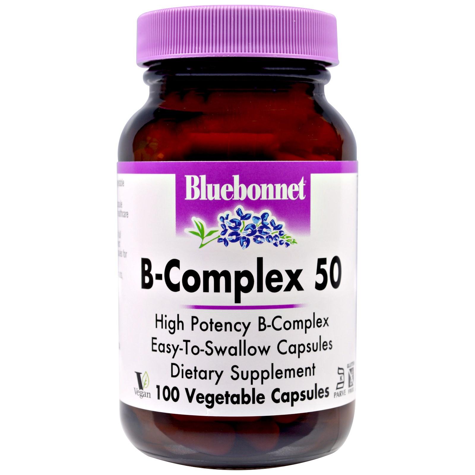 Bluebonnet Nutrition, В-комплекс 50, 100 капсул в растительной оболочке