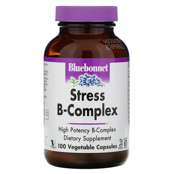 Bluebonnet Nutrition, Stress B-Complex, 100 כמוסות צמחיות