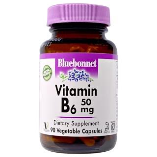 Bluebonnet Nutrition, Vitamin B-6, 50 mg, 90 Veggie Caps