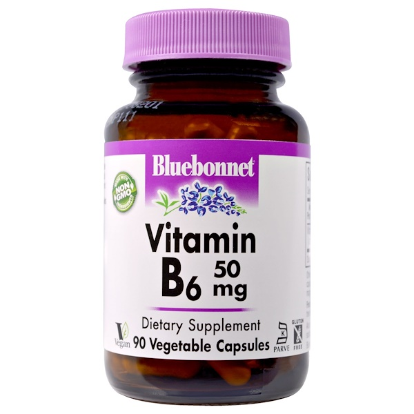 Bluebonnet Nutrition, Vitamin B-6, 50 mg, 90 Veggie Caps (Discontinued Item)