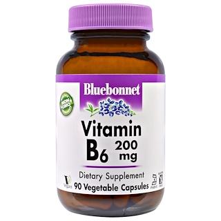 Bluebonnet Nutrition, فيتامين ب-6، 200 مجم، 90 كبسولة نباتية