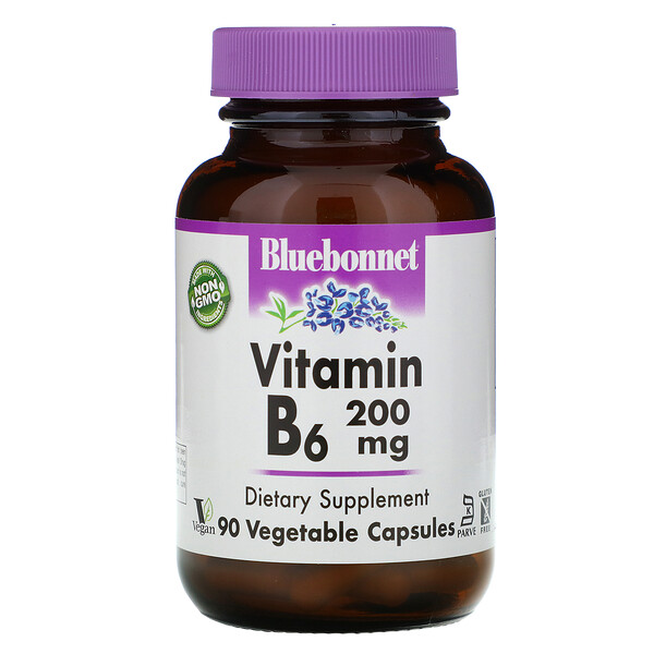 Bluebonnet Nutrition, Vitamin B-6, 200 mg, 90 Vegetable Capsules