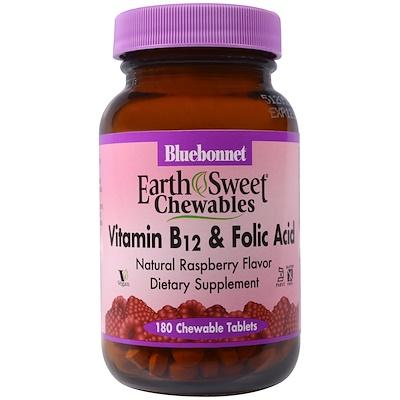 Купить EarthSweet, витамин B-12 и фолиевая кислота, натуральный малиновый ароматизатор, 180 жевательных таблеток