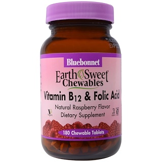 Bluebonnet Nutrition, EarthSweet Chewables, Vitamin B-12 & Folic Acid, Natural Raspberry Flavor, 180 Chewable Tablets