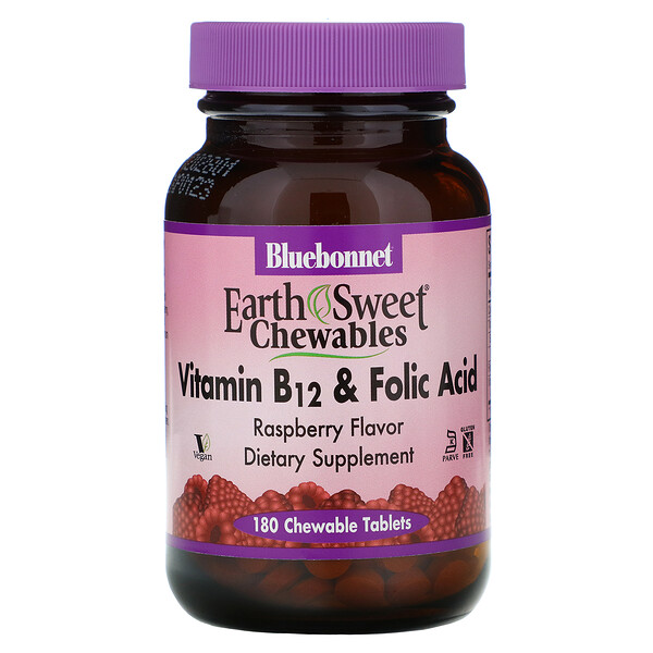 EarthSweet Chewables, Vitamin B-12 & Folic Acid, Natural Raspberry Flavor, 180 Chewable Tablets
