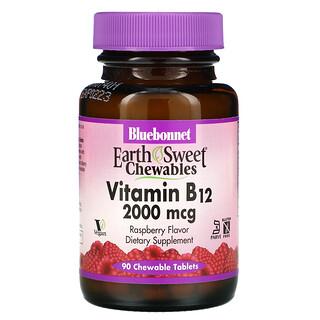 Bluebonnet Nutrition, EarthSweet Chewables, Vitamin B12, Raspberry , 2,000 mcg, 90 Chewable Tablets