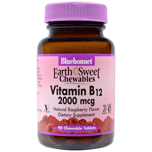Bluebonnet Nutrition, Earthsweet, masticables, vitamina B12, sabor a frambuesa natural, 2000 mcg, 90 tabletas masticables