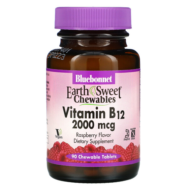 Bluebonnet Nutrition, EarthSweet Chewables, Vitamin B12, Raspberry , 2,000 mcg, 90 Chewable Tablets