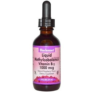 Bluebonnet Nutrition, Жидкий метилкобаламин, Витамин B12, Натуральный вкус малины, 1000 мкг, 2 жидких унции (59 мл)