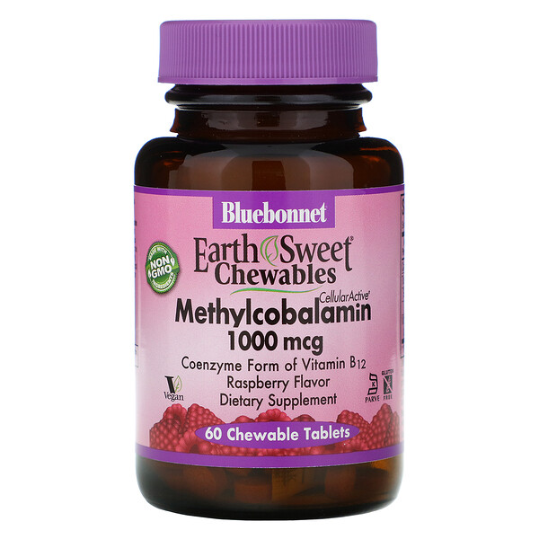 Bluebonnet Nutrition, EarthSweet Chewables, Methylcobalamin, Natural Raspberry Flavor, 1,000 mcg, 60 Chewable Tablets