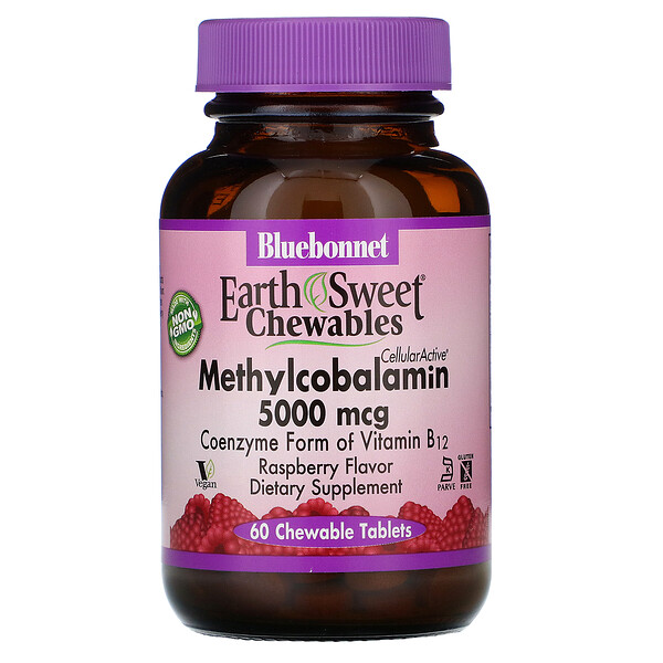 EarthSweet Chewables, CellularActive Methylcobalamin, Raspberry Flavor, 5,000 mcg, 60 Chewable Tablets