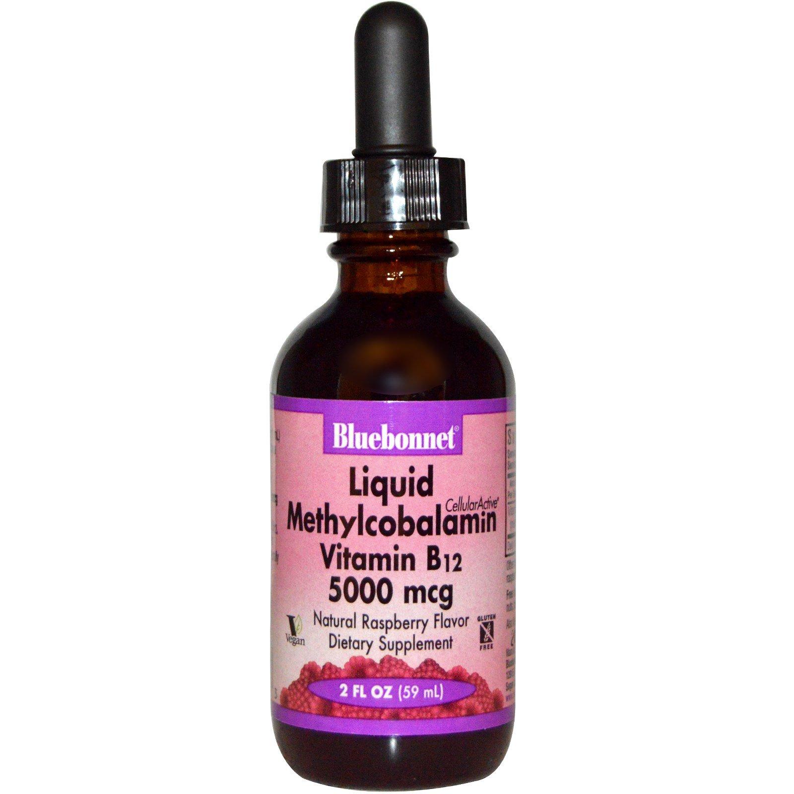 Bluebonnet Nutrition, Жидкий метилкобаламин, Витамин B12, Натуральный вкус малины, 5000 мкг, 2 жидких унции (59 мл)