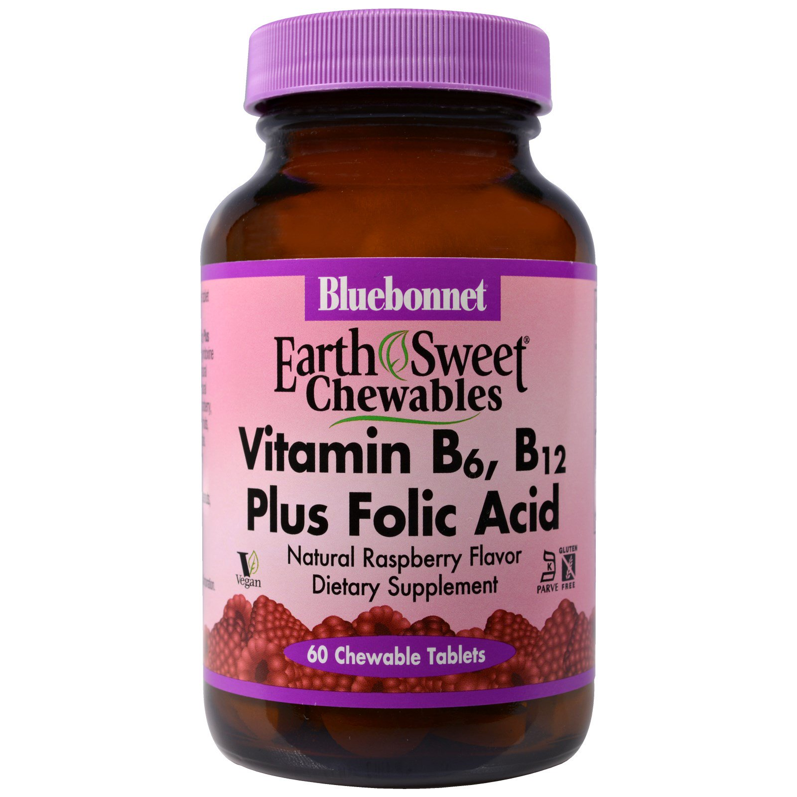 Bluebonnet Nutrition, EarthSweet, Vitamin B-6, B-12 Plus Folic Acid, Raspberry, 60 Chewable Tablets
