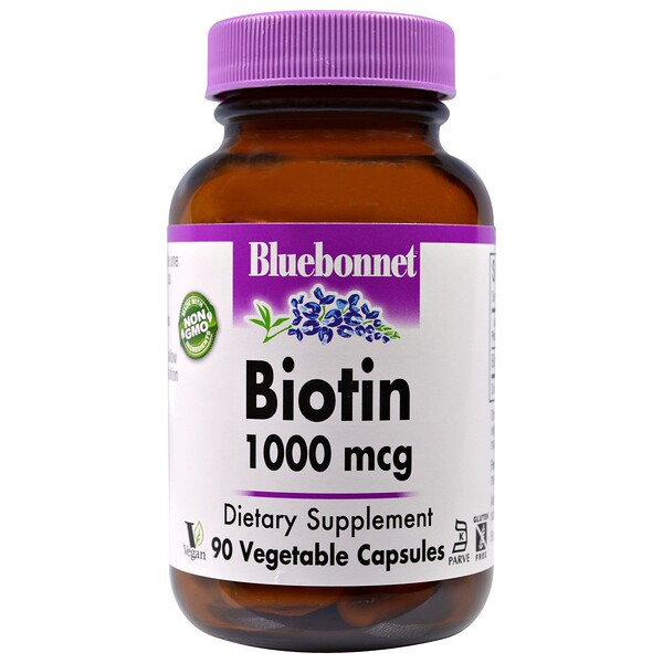 Bluebonnet Nutrition, Biotin, 1,000 mcg, 90 Veggie Caps (Discontinued Item)