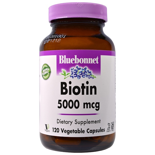 Bluebonnet Nutrition, Biotin, 5,000 mcg, 120 Veggie Caps (Discontinued Item)