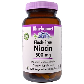 Bluebonnet Nutrition, Flush-Free Niacin, 500 mg, 120 Veggie Caps