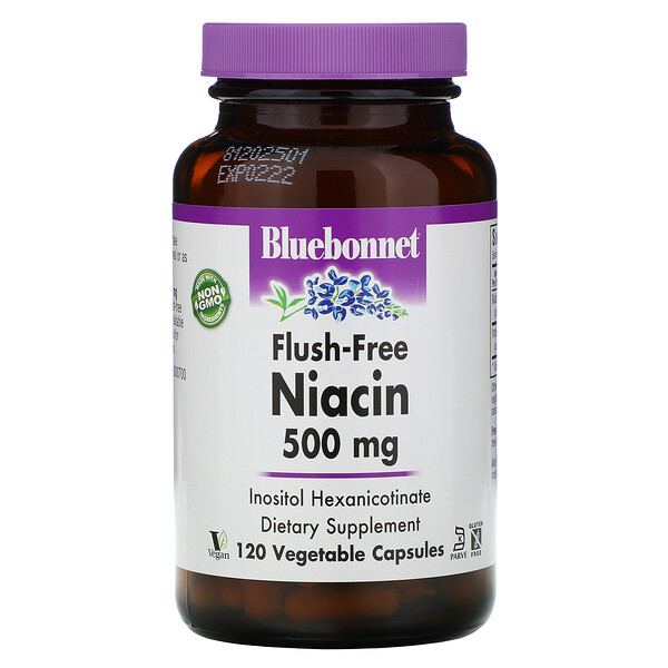 Bluebonnet Nutrition, Flush-Free Niacin, 500 mg, 120 Vegetable Capsules